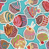 Cupcake pattern Stock Photos