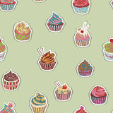 Cupcake pattern Royalty Free Stock Photos
