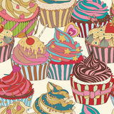 Cupcake pattern. Seamless Sweet food texture. Use as a pattern fill Stock Photography