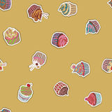 Cupcake pattern Royalty Free Stock Images