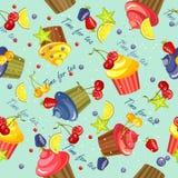 Cupcake pattern seamless Stock Photo