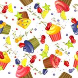 Cupcake pattern seamless Stock Photography