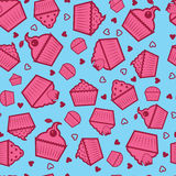 Cupcake pattern. Vector seamless cupcake pattern on blue background Stock Photo