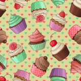 Cupcake pattern, yellow Stock Photos