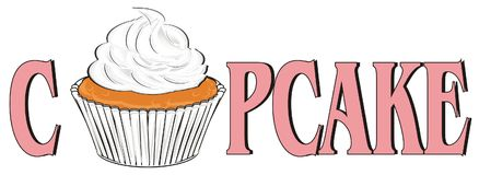 Cupcake peek up from letters. Cupcake peek up from pink letters cupcake Royalty Free Stock Photography