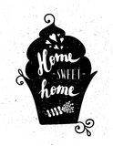 The cupcake with the phrase Sweet home. Royalty Free Stock Photos