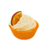 Cupcake with a piece of orange Royalty Free Stock Images