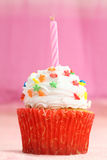 Cupcake in pink background Stock Photos