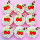 Cupcake on pink background. Royalty Free Stock Image