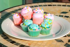 Cupcake pink and blue on a white plate Royalty Free Stock Images