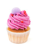 Cupcake with pink buttercream isolated on white Royalty Free Stock Photos