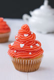 Cupcake with pink buttercream Stock Image
