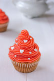 Cupcake with pink buttercream Royalty Free Stock Image