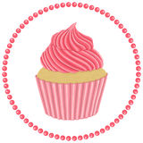 Cupcake with pink cream. Isolated object on a white background . Vector illustration . dessert royalty free illustration
