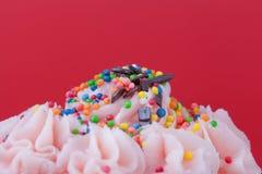 Cupcake with pink cream Stock Photo