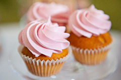 Cupcake with pink cream Royalty Free Stock Photos