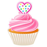 Cupcake with pink heart Royalty Free Stock Photography