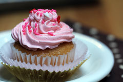 Cupcake with Pink Icing and Sprinkles Royalty Free Stock Photo