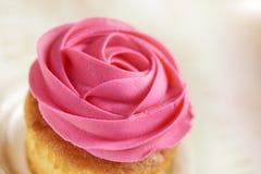 Cupcake with pink rose closeup Royalty Free Stock Image