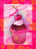 Cupcake on Pink Swirly Background. My oil pastel illustration of a delicious cupcake on a festive hot pink background Stock Photography