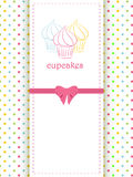 Cupcake polka dot background and panel royalty free illustration