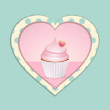 Cupcake and polka dot heart Royalty Free Stock Photo