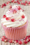 Cupcake with pomegranate and pink sprinkle Stock Photos
