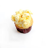 Cupcake with popcorn on white background Royalty Free Stock Photos
