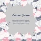 Cupcake postcard Doodle Stock Photography