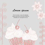 Cupcake postcard Doodle Royalty Free Stock Photography