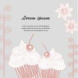 Cupcake postcard Doodle Royalty Free Stock Photography