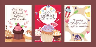 Cupcake poster design bakery cake dessert card vector illustration. Muffin holiday sweet party background design. Chocolate cookie delicious invitation stock illustration