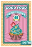 Cupcake poster. Retro Vintage design. Use as a greeting card or for menu Stock Photography