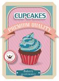 Cupcake poster. Retro Vintage design Stock Photos