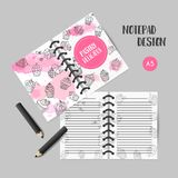 Cupcake printables with handdrawn cupcakes and pink splashes. Planner with sweet pastry. Cute note template for srapbook. Organizer template Vector illustartion Stock Photography