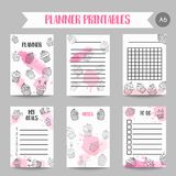 Cupcake printables with handdrawn cupcakes and pink splashes. Planner with sweet pastry. Cute note template for srapbook. Organizer template Vector illustartion Stock Images