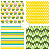 Seamless Repeating Patterns - Cupcake Prints Royalty Free Stock Photos