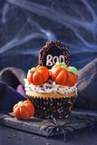Cupcake with pumpkins. For Halloween party royalty free stock images
