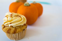 Cupcake and pumpkins Royalty Free Stock Photography
