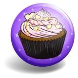 Cupcake on purple badge Royalty Free Stock Image
