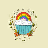 Cupcake and rainbow Stock Photo