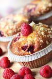 Cupcake with raspberry Stock Photos