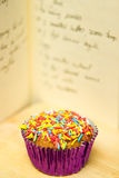 Cupcake with recipe Royalty Free Stock Photos