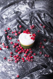 Cupcake with red berries, cranberry  on a dark backgroun Stock Photos