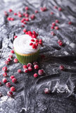 Cupcake with red berries, cranberry  on a dark backgroun Royalty Free Stock Images