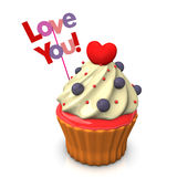 Love You Cupcake Stock Photography