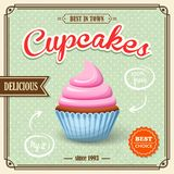 Cupcake retro affiche Royalty-vrije Stock Foto's