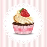Cupcake on retro lace background. Vector realistic dessert. Summer delicious treats. Cupcake on retro lace background. Vector realistic dessert. Summer delicious Royalty Free Stock Photo