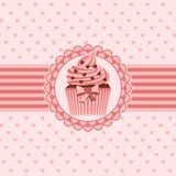 Cupcake ribbon and hearts Stock Photography