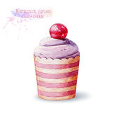 Cupcake with ripe cherry. Stock Photography